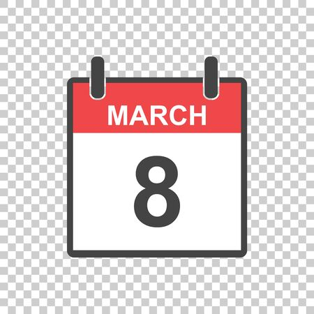 March 8 calendar icon. International womens day. Vector illustration in flat style.