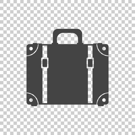 attache: Suitcase flat vector illustration on isolated background. Case for tourism, journey, trip, tour, voyage, summer vacation.