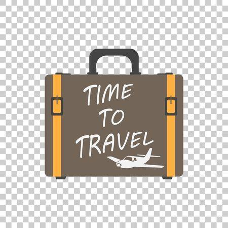 時間旅行の概念フラット ベクトル図に。孤立した背景にスーツケース フラット ベクトル イラスト。観光、旅、旅行、ツアー、航海、夏の休暇のた  イラスト・ベクター素材