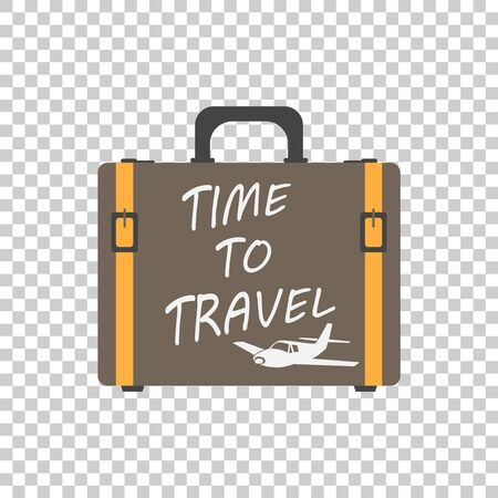Time to travel concept flat vector illustration. Suitcase flat vector illustration on isolated background. Case for tourism, journey, trip, tour, voyage, summer vacation.