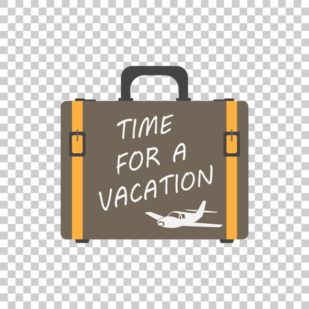 Time for a vacation concept flat vector illustration. Suitcase for tourism, journey, trip, tour, voyage, summer vacation.