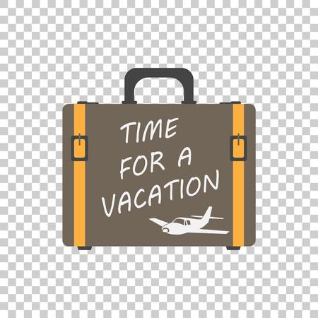 Le temps d'un concept de vacances vecteur plat illustration. Valise pour le tourisme, voyage, voyage, tour, voyage, vacances d'été. Banque d'images - 70186633