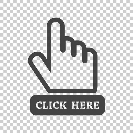 Click here icon. Hand cursor signs. Black button flat vector illustration. Illustration