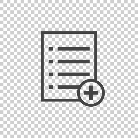 new addition: Add list document icon vector flat illustration. Isolated documents symbol. Paper page graphic design pictogram