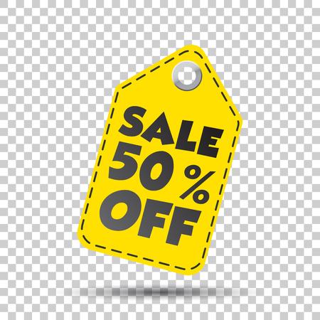 Sale 50% korting op de hang tag. vector illustratie