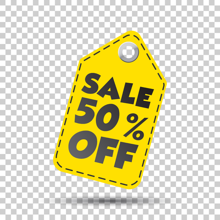Sale 50% off hang tag. Vector illustration