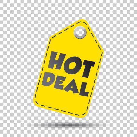 discount banner: Hot deal yellow hang tag. Vector illustration
