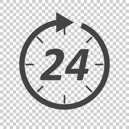 Tijd pictogram. Vlakke vector illustratie 24 uur op geïsoleerde achtergrond.