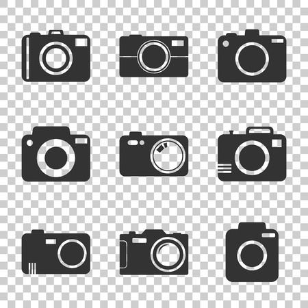 Camera icon set on isolated background. Vector illustration in flat style with photography icons. Illustration