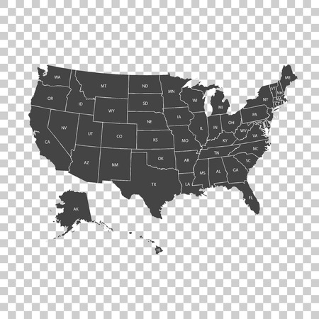 USA map with federal states. Vector illustration United states of America. Иллюстрация