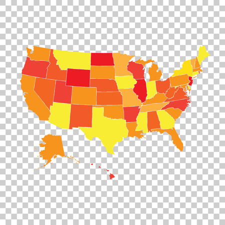 High Detailed USA Map With Federal States Vector Illustration