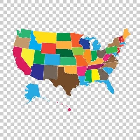 High detailed USA map with federal states. Vector illustration United states of America. Фото со стока - 71252548