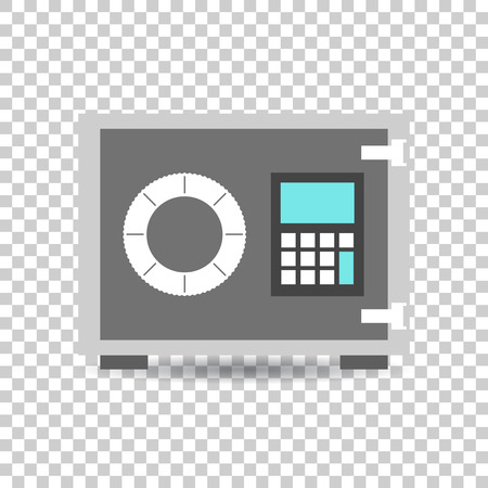 Money safe icon. Vector illustration in flat style on isolated background. Çizim