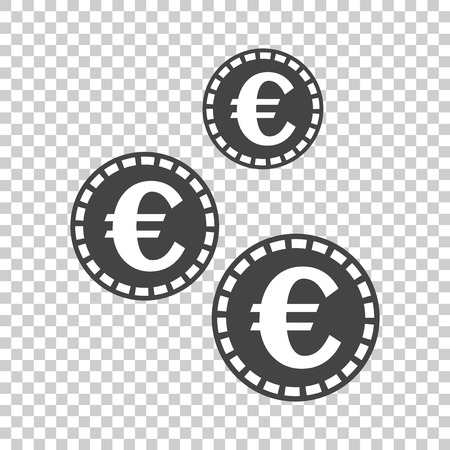 Euro coins icon. Vector illustration in flat style. Black coin on isolated background. Ilustrace