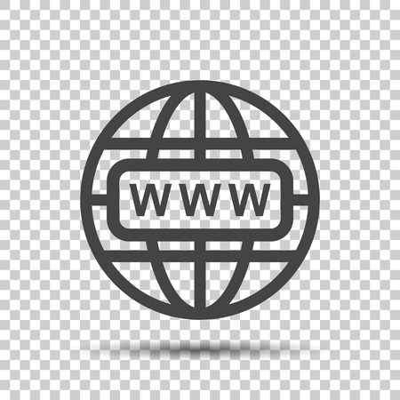 website wide window world write www: Go to web icon. Internet flat vector illustration for website on isolated background.