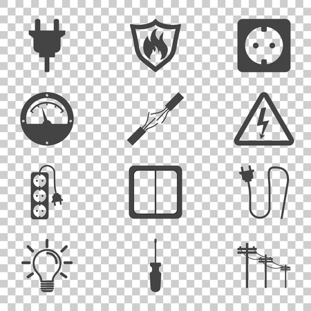 Electricity icon. Vector illustration in flat style on isolated background Çizim