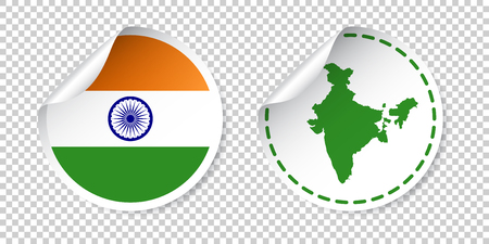 bharat: India sticker with flag and map. Label, round tag with country. Vector illustration on isolated background.