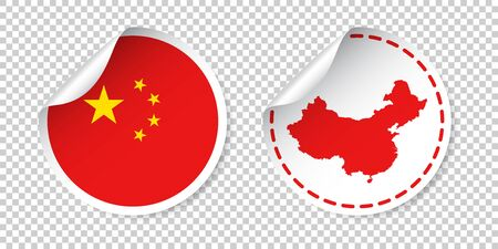 China sticker with flag and map. Label, round tag with country. Vector illustration on isolated background. Illustration