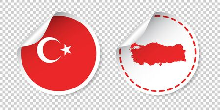 Turkey sticker with flag and map. Label, round tag with country. Vector illustration on isolated background.