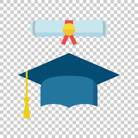 Graduation cap and diploma scroll icon vector illustration in flat style. Finish education symbol. Celebration element. Colorful graduation cap with diploma on isolated background. Ilustração
