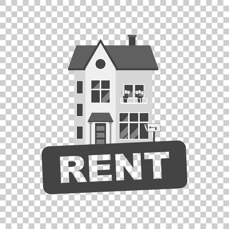 condo: Rent sign with house. Home for rental. Vector illustration in flat style. Illustration