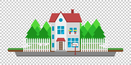 housing project: House on the road. Part of the rural and urban landscape. Vector illustration in flat style.