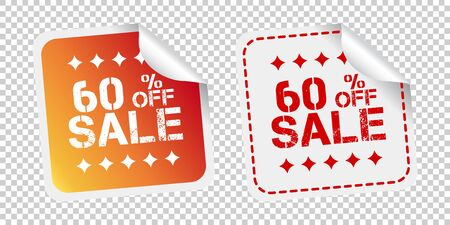 Sale stickers 60% percent off. Vector illustration on isolated background. Illusztráció