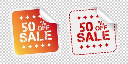 Sale stickers 50% percent off. Vector illustration on isolated background. Ilustração