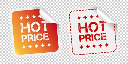 Hot price stickers. Vector illustration on isolated background.