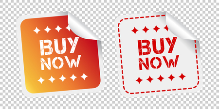 Buy now stickers. Vector illustration on isolated background.