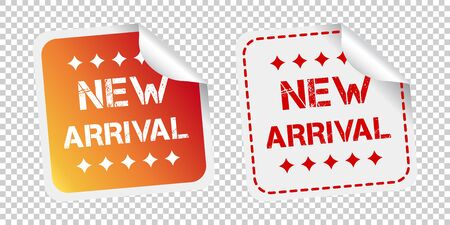 New arrival stickers. Vector illustration on isolated background.