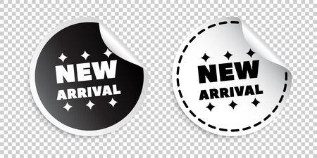 Nieuw binnen sticker. Zwart en wit vector illustratie.