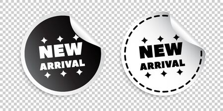 New arrival sticker. Black and white vector illustration.