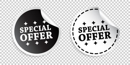 Special offer sticker. Black and white vector illustration. Illustration