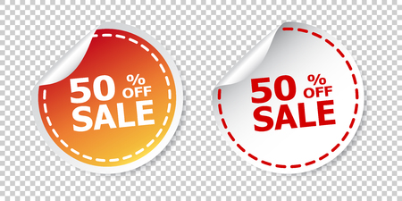 Sale stickers 50% percent off. Vector illustration on isolated background. Illustration