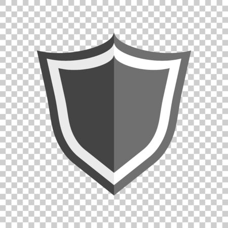 Shield protection icon. Vector illustration in flat style with shadow on isolated background. Ilustracja