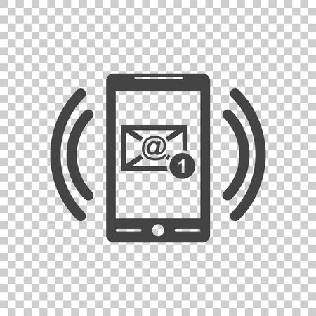 Slimme telefoon met e-mailsymbool op het scherm. Vectorillustratie in vlakke stijl op geïsoleerde achtergrond. Stock Illustratie