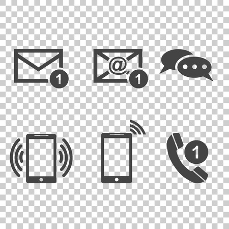 Contact buttons set icons. Email, envelope, phone, mobile. Vector illustration in flat style on isolated background. Çizim