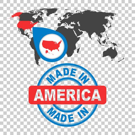 Made in America, USA stamp. World map with red country. Vector emblem in flat style on isolated background.