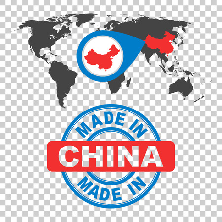 Made in China stamp. World map with red country. Vector emblem in flat style on isolated background.