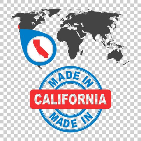 Made in California, America, USA stamp. World map with red country. Vector emblem in flat style on isolated background.