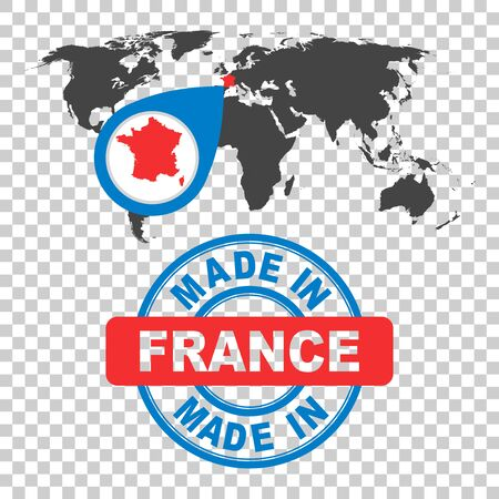 Made in France stamp. World map with red country. Vector emblem in flat style on isolated background.