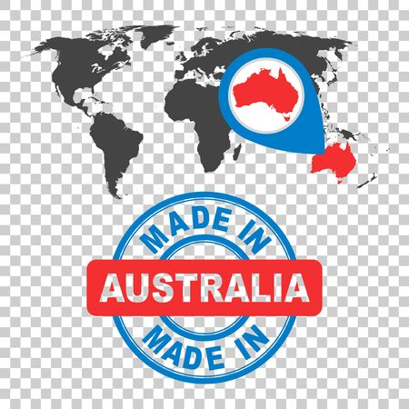 Made in Australia stamp. World map with red country. Vector emblem in flat style on isolated background.