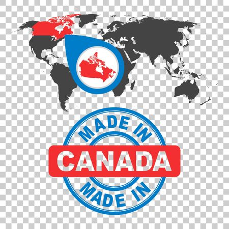 Made in Canada stamp. World map with red country. Vector emblem in flat style on isolated background.