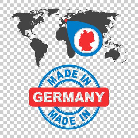 Made in Germany stamp. World map with red country. Vector emblem in flat style on isolated background.