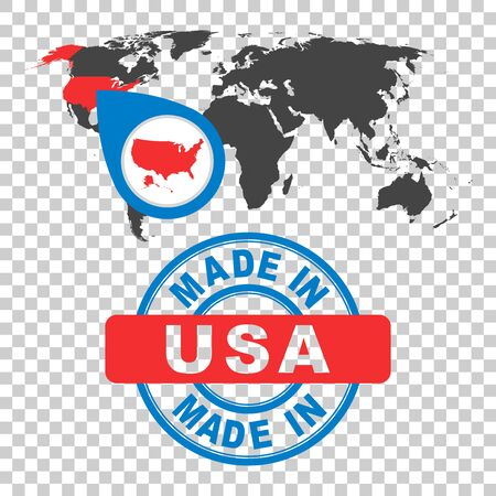 Made in USA, America stamp. World map with red country. Vector emblem in flat style on isolated background.