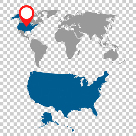 Detailed map of USA and World map navigation set. Flat vector illustration.