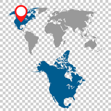 Detailed map of North America and World map navigation set. Flat vector illustration. Иллюстрация