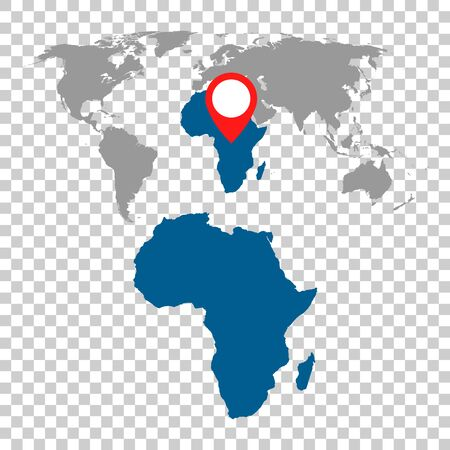 Detailed map of Africa and World map navigation set. Flat vector illustration.