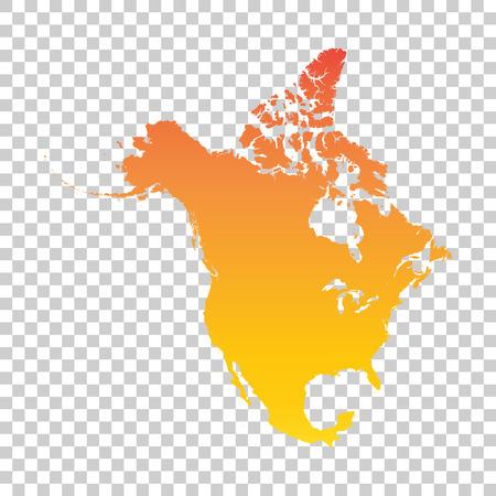 Noord-Amerika kaart. Kleurrijke oranje vectorillustratie Stock Illustratie